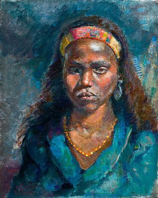 Head Of A Woman Art Print by Ellen Dreibelbis