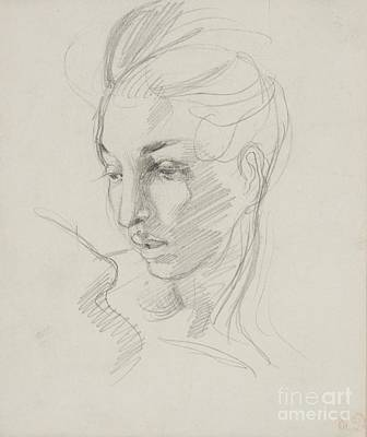 Victor Drawing - Head Of Liberty  by Ferdinand Victor Eugene Delacroix
