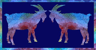 Goat Wall Art - Digital Art - Head To Head by Jenny Armitage