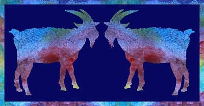 Goats Wall Art - Digital Art - Head To Head by Jenny Armitage