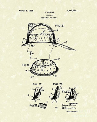 Protection Drawing - Headgear 1925 Patent Art by Prior Art Design