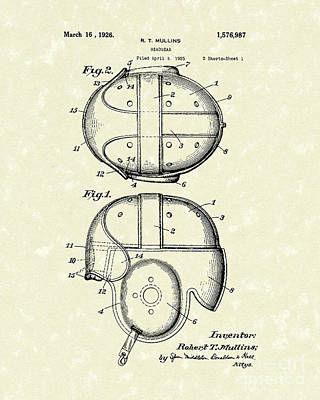 Baseball Art Drawing - Headgear 1926 Patent Art by Prior Art Design