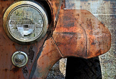 Old Trucks Photograph - Headlight by Kathy Jennings