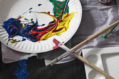 Heaps Of Acrylic Paint On A Paper Plate And Paintbrushes Art Print
