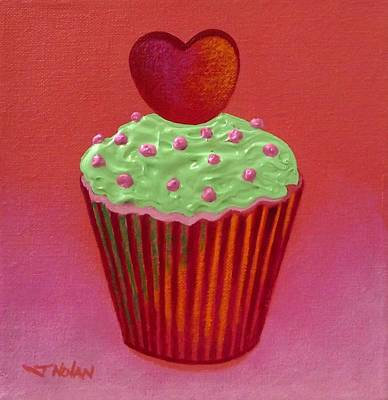 Heart Cupcake  Art Print by John  Nolan
