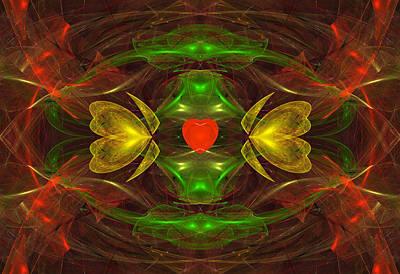 Digital Art - Heart In Glass by Sandy Keeton
