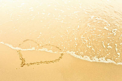 Heart In Sand Washed Away By Waves Art Print by Dan Brownsword