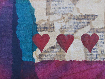 Mixed Media Art Mixed Media - Heart Music Mixed Media Collage by Karen Pappert