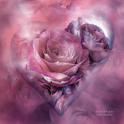 Mixed Media - Heart Of A Rose - Mauve Purple by Carol Cavalaris