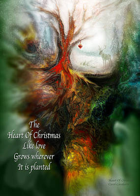 Mixed Media - Heart Of Christmas Card by Carol Cavalaris