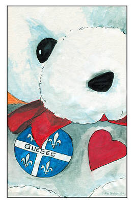 Print featuring the drawing Heart Quebec Bear by Ana Tirolese
