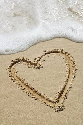 Heart-shape Drawn In Sand Art Print by Tony Craddock