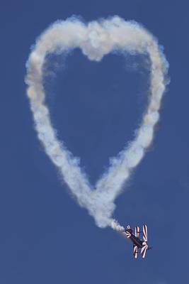 Heart Shape Smoke And Plane Art Print
