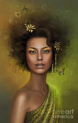 Female Portrait Painting - Heartbeat Of Gaia by Doris Mantair