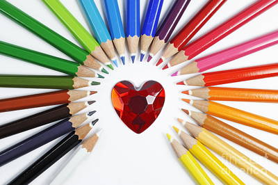 Photograph - Heartshape And Circle Of Colorful Crayons by Sami Sarkis
