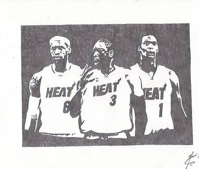 Lebron Drawing - Heat by Nick Theodor