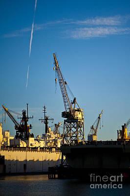 Heavy Equipment Cranes At Drydock Art Print by Eddy Joaquim