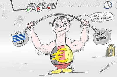 Euro Zone Digital Art - Heavyweight Germany Lifts Eur And Greece by OptionsClick BlogArt