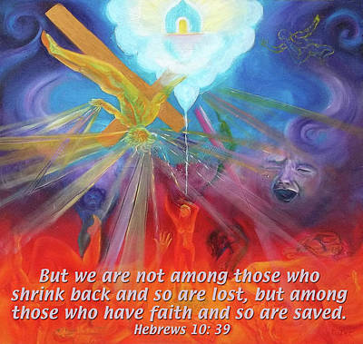 Cross Painting - Hebrews 10 39 by Anne Cameron Cutri