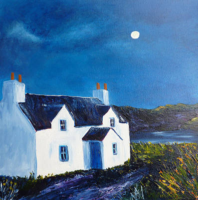 Loch Painting - Hebridean Cottage And Loch by Margaret Denholm