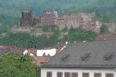 Knights Castle Digital Art - Heidelberg Castle In Germany by Brandon Bourdages