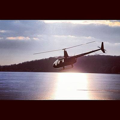 Helicopter Photograph - #helicopter Over The #frozen #lake In by Aran Ackley