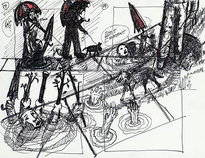 Contemporary Abstract Drawing - Helpless by Robert Wolverton Jr
