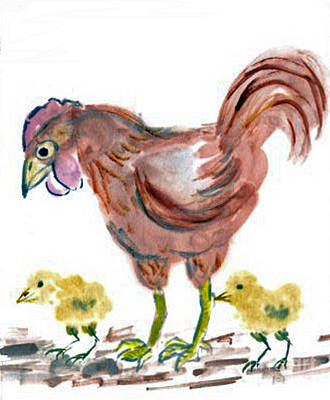 State-of-no-mind Painting - Hen And Chicks by Ellen Miffitt
