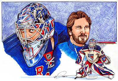 Nhl Hockey Drawing - Henrik Lundqvist by Dave Olsen