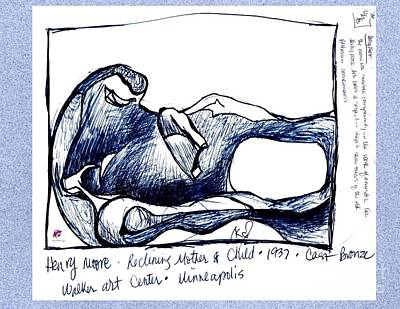 Drawing - Henry Moore Bronze Study by Carol Rashawnna Williams
