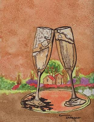 Wine Cave Painting - Heres To Ya No8 by Connie Valasco