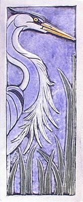 Ceramic Relief - Heron Ceramic Tile by Shannon Gresham
