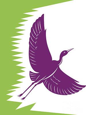Heron Crane Flying Retro Art Print by Aloysius Patrimonio