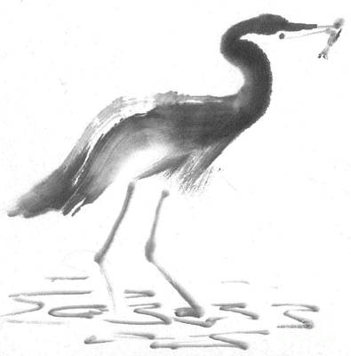 State-of-no-mind Painting - Heron by Ellen Miffitt