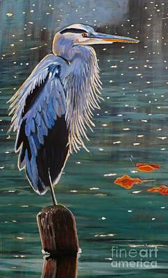 Art Print featuring the painting Heron In Blue by Janet McDonald