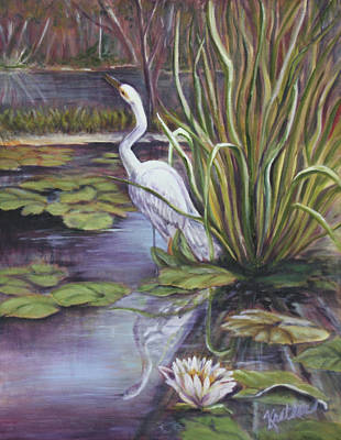 Painting - Heron Standing Watch by Pauline  Kretler