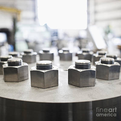 Hex Nuts Threaded On Bolts Art Print by Jetta Productions, Inc