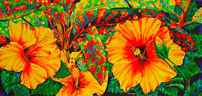 Tropical Flower Painting - Hibiscus With Crotons by Daniel Jean-Baptiste