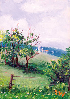 Art Print featuring the painting Hickory Hillside by Joe Winkler