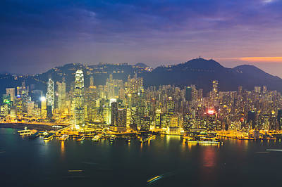 High Angle View Of Hong Kong Island At Sunset Art Print by Fraser Hall