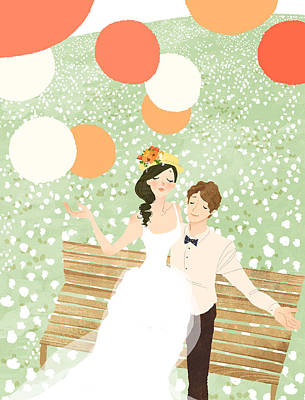 High Angle View Of Newlywed Couple Sitting On Garden Bench Art Print by Eastnine Inc.