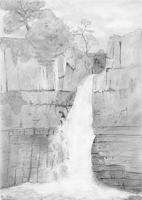Pencil Drawing Waterfall Drawing - High Force by Chris Hall