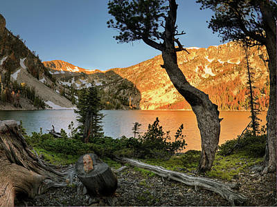 Photograph - High Mountain Lake Sunrise by Leland D Howard
