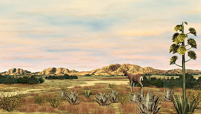 Digital Art - High Plains Mule Deer by Walter Colvin