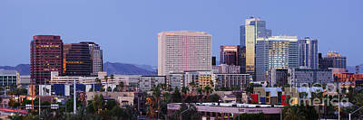 High Rise Buildings Of Downtown Phoenix At Sunrise Art Print by Jeremy Woodhouse