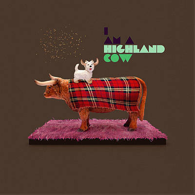 Scottish Dog Digital Art - Highland Cow by Michael  Murray
