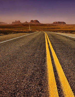 Illuminated Photograph - Highway To Monument Valley by Andrew Soundarajan