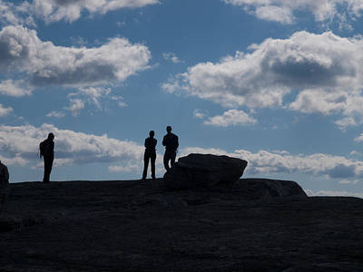 Shawanagunk Mountains Photograph - Hikers On Cliff Top by Jim DeLillo