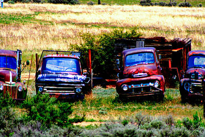 Digital Art - Hill Billy Used Auto Sales by Andrea Camp