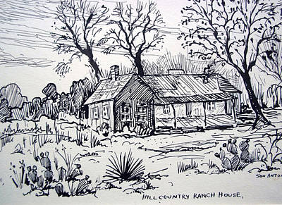 Cabin Window Drawing - Hill Country Ranch House by Bill Joseph  Markowski